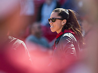 NWA Democrat-Gazette/BEN GOFF @NWABENGOFF<br /> Courtney Diefel, Arkansas head coach, watches vs South Carolina Sunday, March 17, 2019, at Bogle Park in Fayetteville.