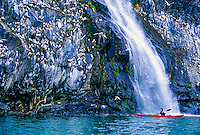 Sea kayaking on Prince William Sound at Whittier, Alaska USA