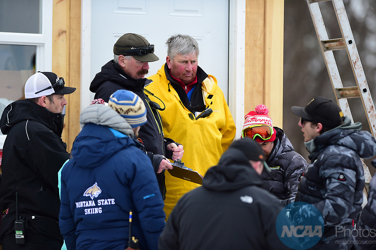 FRANCONIA, NH - MARCH 10:   Jury members hear a protest after the Men's Slalom event at the Division I Men's and Women's Skiing Championships held at Cannon Mountain on March 10, 2017 in Franconia, New Hampshire. (Photo by Gil Talbot/NCAA Photos via Getty Images)