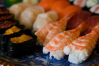 A plate of assorted sushi for a party in Japan.