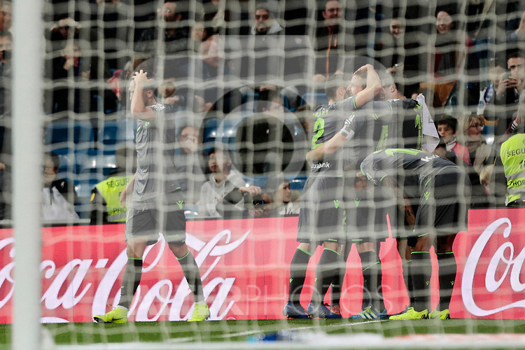 Real Sociedad's players celebrate goal during La Liga match between Real Madrid and Real Sociedad at Santiago Bernabeu Stadium in Madrid, Spain. January 06, 2019. (ALTERPHOTOS/A. Perez Meca)<br />  (ALTERPHOTOS/A. Perez Meca)