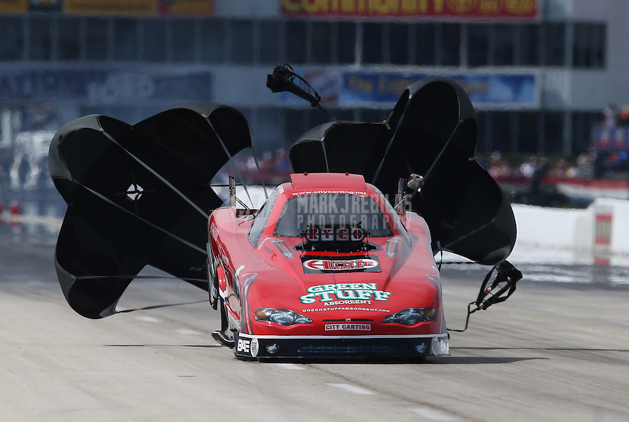 Apr. 28, 2013; Baytown, TX, USA: NHRA top alcohol funny car driver Mickey Ferro during the Spring Nationals at Royal Purple Raceway. Mandatory Credit: Mark J. Rebilas-