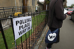 A woman leaving a polling station in Cardonald, Glasgow on the day of the independence referendum. Yes Scotland were campaigning for the country to leave the United Kingdom, whilst Better Together were campaigning for Scotland to remain in the UK. On the 18th of September 2014, the people of Scotland voted in a referendum to decide whether the country's union with England should continue or Scotland should become an independent nation once again and leave the United Kingdom.