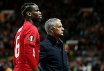 Paul Pogba and Manchester United manager Jose Mourinho during the UEFA Europa League match at Old Trafford Stadium, Manchester. Picture date: September 29th, 2016. Pic Matt McNulty Sportimage
