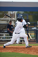 New York Yankees Isiah Gilliam (25) follows through on a swing during an Instructional League game against the Baltimore Orioles on September 23, 2017 at the Yankees Minor League Complex in Tampa, Florida.  (Mike Janes/Four Seam Images)