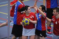 KORFBAL: AKKRUM: 01-04-2015, Internationaal Korfbal, China tegen Hongarije, ©foto Martin de Jong