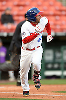 Buffalo Bisons outfielder Darin Mastroianni (44) during a game against the Louisville Bats on April 29, 2014 at Coca-Cola Field in Buffalo, New  York.  Buffalo defeated Louisville 4-1.  (Mike Janes/Four Seam Images)