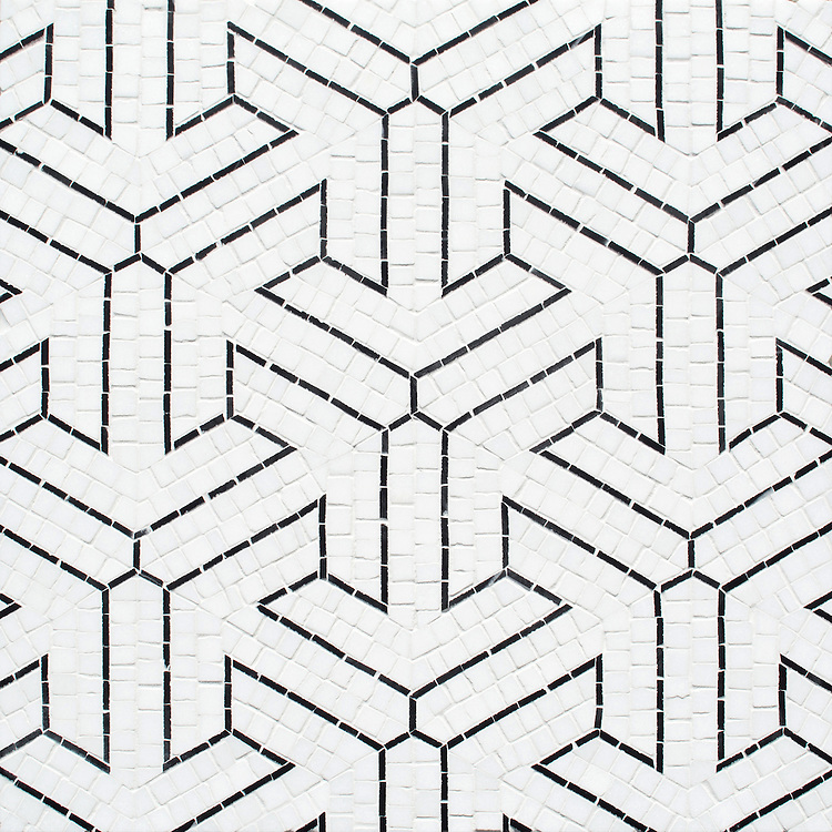 Trevi, a hand-cut stone mosaic, shown in honed Thassos and polished Nero Marquina, is part of the Miraflores Collection by Paul Schatz for New Ravenna.