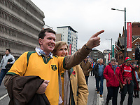 Australia fans outside of the stadium before the match<br /> <br /> Photographer Simon King/CameraSport<br /> <br /> International Rugby Union - 2017 Under Armour Series Autumn Internationals - Wales v Australia - Saturday 11th November 2017 - Principality Stadium - Cardiff<br /> <br /> World Copyright &copy; 2017 CameraSport. All rights reserved. 43 Linden Ave. Countesthorpe. Leicester. England. LE8 5PG - Tel: +44 (0) 116 277 4147 - admin@camerasport.com - www.camerasport.com