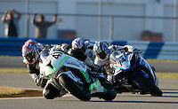 Eric Pinson (41) leads a pack of motorcyles during the AMA SuperBike motorcycle race at Daytona International Speedway, Daytona Beach, FL, March 2011.(Photo by Brian Cleary/www.bcpix.com)
