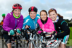 Wheelie good<br /> -------------------<br /> Tralee girls L-R Catherine Wharton, Ann Moynihan, Kathy Jordan and Fiona O' Connor about to peddle away in the Harvest cycle.