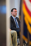 """Westbury, New York, USA. January 15, 2017.  Representative THOMAS SUOZZI (Democrat - 3rd Congressional District NY), sitting on stage, is one of the hosts at the """"Our First Stand"""" Rally against Republicans repealing the Affordable Care Act, ACA, taking millions of people off health insurance, making massive cuts to Medicaid, and defunding Palnned Parenthood. Rep. K. Rice (Democrat - 4th Congressional District) was also a host. It was one of dozens of Bernie Sanders' nationwide rallies for health care that Sunday."""