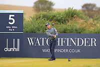Padraig Harrington (IRL) on the 5th tee during Round 2 of the Alfred Dunhill Links Championship 2019 at Kingbarns Golf CLub, Fife, Scotland. 27/09/2019.<br /> Picture Thos Caffrey / Golffile.ie<br /> <br /> All photo usage must carry mandatory copyright credit (© Golffile | Thos Caffrey)