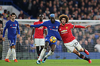 Chelsea's Tiemoue Bakayoko and Marouane Fellaini of Manchester United challenge for the ball during Chelsea vs Manchester United, Premier League Football at Stamford Bridge on 5th November 2017