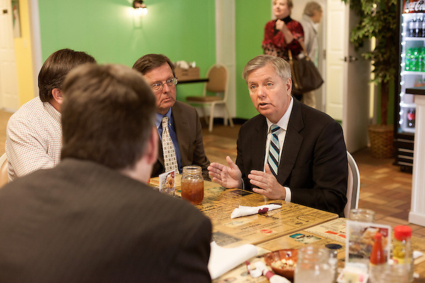 March 26, 2013. West Columbia, South Carolina . Sen. Lindsey Graham stopped by Mrs. B's Southern Kitchen to greet diners and discuss his plans for the political season with his base.. Sen. Lindsey Graham, R- South Carolina, is up for reelection in 2014. He spent some time talking to his base back home about issues such as immigration reform as he readies himself for his campaign run..