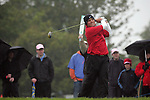 Overnight leader Francesco Molinari playing his tee shot off the 10th during day two of the 3 Irish Open..Pic Fran Caffrey/golffile.ie