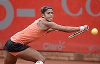 BOGOTÁ -COLOMBIA. 19-04-2015. Teliana PEREIRA (BRA) en acción durante el encuentro con Yaroslava SHVEDOVA (KAZ) por la final del Claro Open Colsanitas WTA 2015 disputado en el club El rancho de la ciudad de Bogota hoy 19 de abril de 2015./ Teliana PEREIRA (BRA) in action during the match with Yaroslava SHVEDOVA (KAZ) for the final of Claro Open Colsanitas WTA 2015 played at El Rancho Clud court in Bogotá, Colombia today 19 April of 2015. Photo: VizzorImage/ Gabriel Aponte / Staff