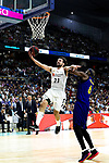 Real Madrid's Sergio Llull and Barcelona's Chris Singleton during Liga Endesa match between Real Madrid and FC Barcelona Lassa at Wizink Center in Madrid, Spain. March 24, 2019.  (ALTERPHOTOS/Alconada)