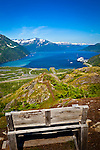 View of Passage Canal and Whittier from a bench at Portage Pass. Cruise ship 'Diamond Princess' at the port. Chugach National Forest, Southcentral Alaska, Summer.