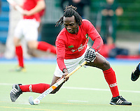 Kwan Brown in action for Canterbury during the England Hockey League Mens Premier Division game between Hampstead & Westminster against Canterbury at The Paddington Recreation Ground, Maida Vale on Sat Sept 25, 2010