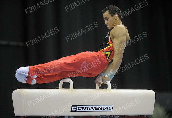 21.4.10 European Gymnastics Championships.Birmingham England.Senior Podium Training.  Matthias Fahrig of Germany in action during podium training.. Photos by Alan Edwards