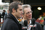 20 November 2009: ESPN broadcasters John Harkes (left) and JP Dellacamera (right). Major League Soccer players Alan Gordon of the Los Angeles Galaxy and Chris Seitz of Real Salt Lake took part in a fish toss at Pike Place Market in Seattle, WA as part of the Major League Soccer MLS Cup weekend activities.
