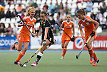 GER - Mannheim, Germany, May 25: During the U16 Girls match between The Netherlands (orange) and Germany (black) during the international witsun tournament on May 25, 2015 at Mannheimer HC in Mannheim, Germany. Final score 1-1 (1-0). (Photo by Dirk Markgraf / www.265-images.com) *** Local caption *** Rosa Fernig #12 of The Netherlands, Clara Roth #6 of Germany, Yibbi Jansen #4 of The Netherlands
