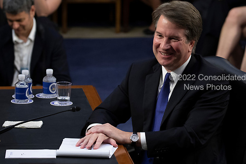 Judge Brett Kavanaugh laughs during a hearing before the United States Senate Judiciary Committee on his nomination as Associate Justice of the US Supreme Court to replace the retiring Justice Anthony Kennedy on Capitol Hill in Washington, DC on Tuesday, September 4, 2018.Credit: Alex Edelman / CNP