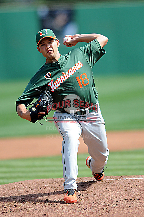 University of Miami Hurricanes pitcher Christian Diaz #18  during a game versus the Boston College Eagles at Shea Field in Chestnut Hill, Massachusetts on April 26, 2013.  (Ken Babbitt/Four Seam Images)