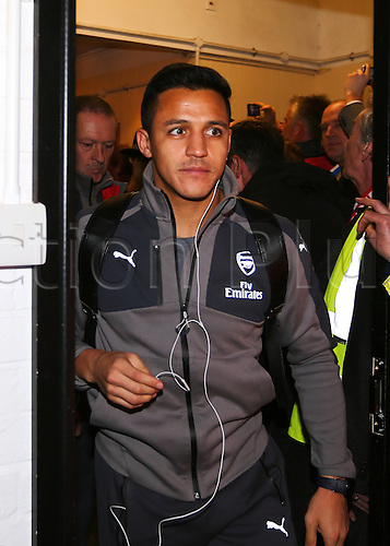 February 20th 2017, The Borough Sports Ground, Sutton, Surrey, England; FA Cup 5th Round football, Sutton United versus Arsenal FC; Alexis Sanchez of Arsenal arrives at The Borough Sports Ground