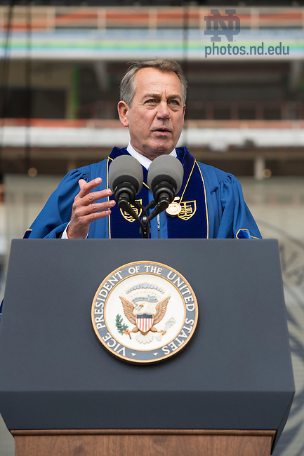 May 15, 2016; Laetare Medal recipient John Boehner, former Speaker of the House, delivers his address during the 2016 Commencement ceremony at Notre Dame Stadium. (Photo by Barbara Johnston/University of Notre Dame)