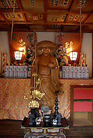 A wooden statue of Kobo Daishi at Yakuouin temple. Kobo Daishi is the founder of the Shingon religion.