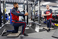 (L-R) Luciano Narsingh and Oliver McBurnie exercise in the gym during the Swansea City Training at The Fairwood Training Ground, Swansea, Wales, UK. Thursday 04 January 2018
