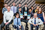 At the Lee Strand Kerry Garda Youth Achievement Awards 2016 in Ballyroe Heights on Friday were, from left. The Killarney NoName club Liam Mackey, Garda Diane Colins, Mutaz Almusawi, Killarney, Merit Award Winner, Michael McNabb, Michael Mc Nabb, Killarney, Merit Award Winner,  Superintendent Flor Murphy, Sam Nagel, Back l-r Denis O'Leary, Luke Coffey, Daniel O'Connor, Owen Barry, Killarney, Merit Award Winner, Ann Nagel, Emma Linehan