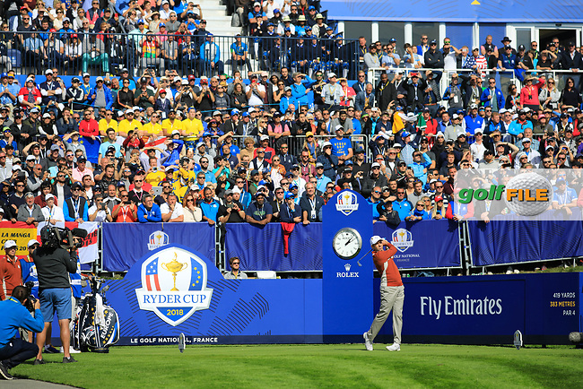 Sergio Garcia (Team Europe) during the Saturday Foursomes at the Ryder Cup, Le Golf National, Paris, France. 29/09/2018.<br /> Picture Phil Inglis / Golffile.ie<br /> <br /> All photo usage must carry mandatory copyright credit (© Golffile | Phil Inglis)