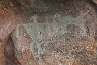 Authentic Hawaiian petroglyphs of human figure and dog, Olowalu, Maui