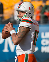 Miami Hurricanes quarterback Malik Rosier. The Pitt Panthers upset the undefeated Miami Hurricanes 24-14 on November 24, 2017 at Heinz Field, Pittsburgh, Pennsylvania.