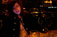 Los Angeles, Calif., Dec. 16, 2008 - Ramona Gonzalez of the band Nite Jewel at her favorite bar, Footsies, in the Echo Park section of Los Angeles.
