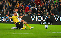 23rd November 2019; Liberty Stadium, Swansea, Glamorgan, Wales; English Football League Championship, Swansea City versus Millwall; Kristoffer Petersen of Swansea City shoots at goal  - Strictly Editorial Use Only. No use with unauthorized audio, video, data, fixture lists, club/league logos or 'live' services. Online in-match use limited to 120 images, no video emulation. No use in betting, games or single club/league/player publications