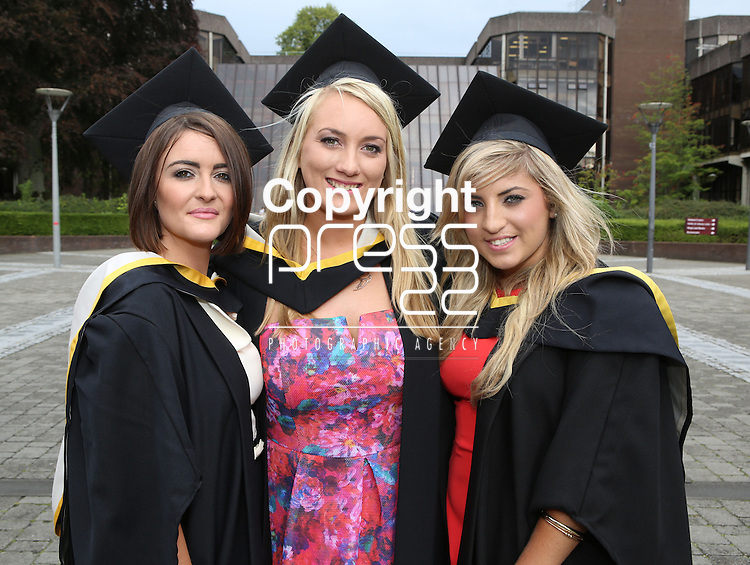 27/8/2014  With Compliments.  Attending the University of Limerick conferrings on Wednesday Cork graduates Michelle O'Regan, Ladies Bridge, Orla Furlong, Stumphill and Ciara Clifford, Castlemartyr all 3 conferred with a BBS.<br /> Picture Liam Burke/Press 22