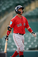 Boston Red Sox Justin Qiang (25) walks back to the dugout during a Florida Instructional League game against the Baltimore Orioles on October 8, 2018 at the Ed Smith Stadium in Sarasota, Florida.  (Mike Janes/Four Seam Images)
