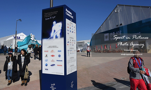 Signage in the park outside the Visa shop. Around the Gangneung Olympic park. Pyeongchang2018 winter Olympics. Gangneung. Republic of Korea. 12/02/2018. ~ MANDATORY CREDIT Garry Bowden/SIPPA - NO UNAUTHORISED USE - +44 7837 394578
