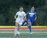 FC Kansas City forward Erika Tymrak (15) brings the ball forward.  In a National Women's Soccer League (NWSL) match, Boston Breakers (blue) defeated FC Kansas City (white), 1-0, at Dilboy Stadium on August 10, 2013.