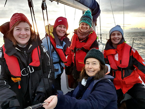 Cruising and day sailing is a huge part of SID's activities. Last year five SID members marked the December solstice by watching the sun rise at sea: Eimear Ni Mhéalóid, Jessica O'Donnell, Rose-Marie Daly, Elizabeth O'Gorman, and Maria Browne