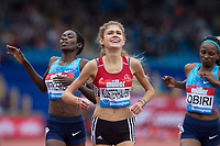 Konstanze KLOSTERHALFEN of Germany smiles after crossing the line with a new National record time of 8.29.89 during the Muller Grand Prix Birmingham Athletics at Alexandra Stadium, Birmingham, England on 20 August 2017. Photo by Andy Rowland.
