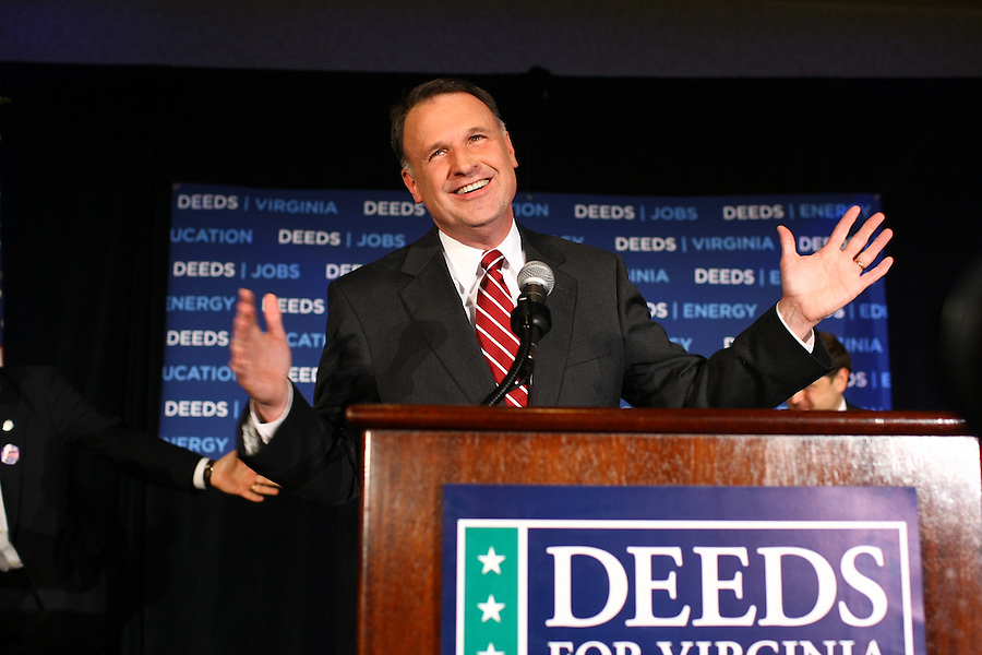 Virginia Senator Creigh Deeds celebrating his win over Terry McAuliffe to be the next Democratic nominee to run for Virginia Governor in Charlottesville, Va.