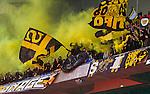 Stockholm 2014-04-16 Fotboll Allsvenskan Djurg&aring;rdens IF - AIK :  <br /> AIK supportrar med flagga och r&ouml;k under matchen mellan <br /> Djurg&aring;rden och AIK <br /> (Foto: Kenta J&ouml;nsson) Nyckelord:  Djurg&aring;rden DIF Tele2 Arena AIK supporter fans publik supporters
