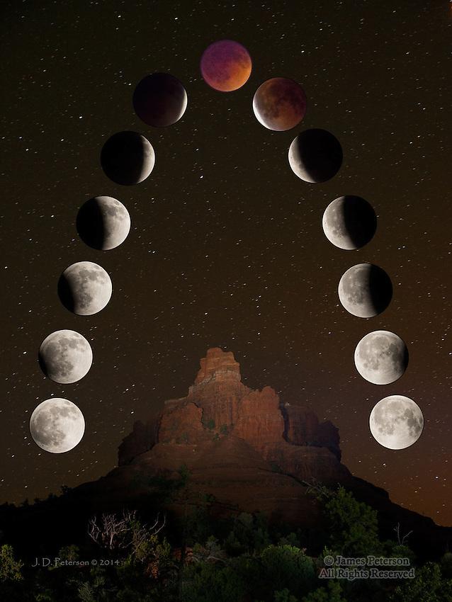 Lunar Eclipse over Bell Rock Vortex, Sedona - composite image