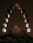 Lunar Eclipse over Bell Rock Vortex, Sedona - composite image