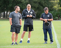 Orlando, FL - Friday Oct. 14, 2016:   Candidates speak to coaching instructor Louis Mateus during a US Soccer Coaching Clinic in Orlando, Florida.